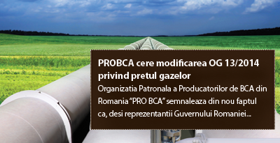 PROBCA cere modificarea OG 13/2014 privind pretul gazelor
